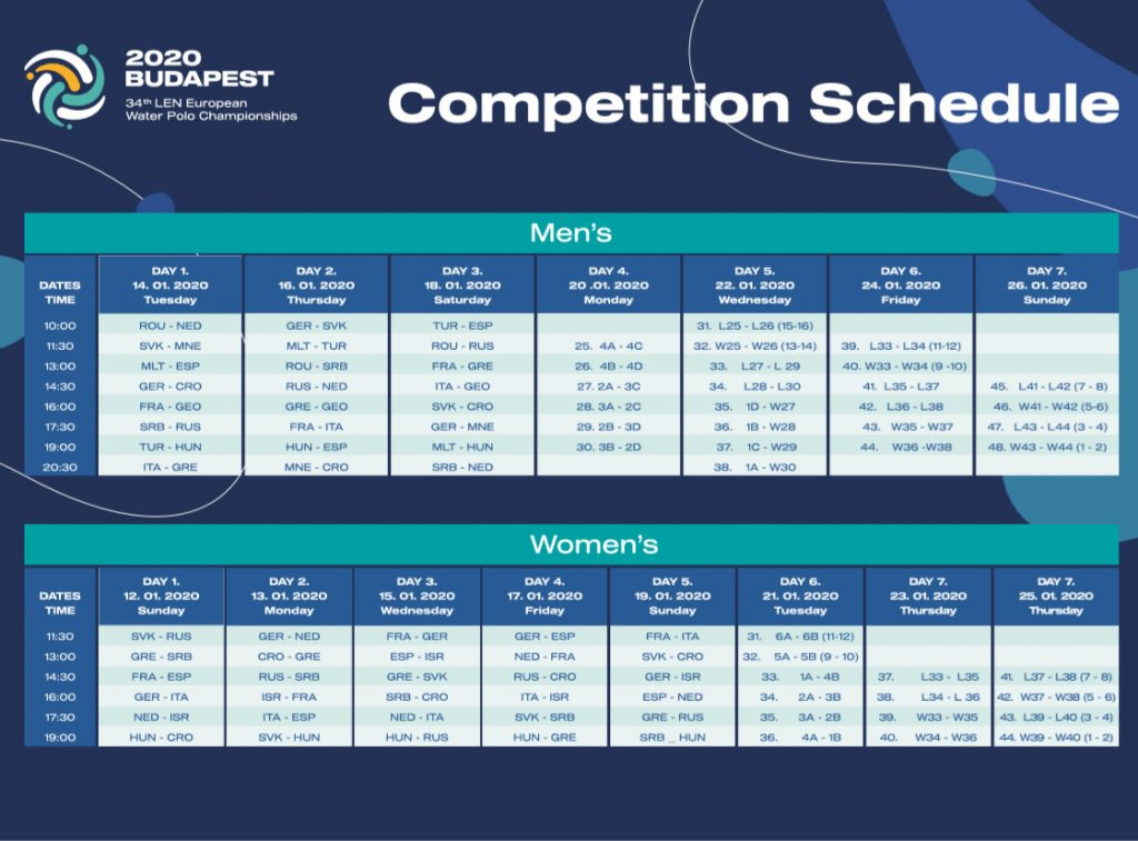 2020 EURO Water Polo Competition Schedule